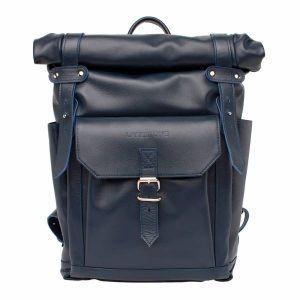 cb6cb676379e Вместительный мужской рюкзак Lakestone Eliot Dark Blue из синей кожи ...