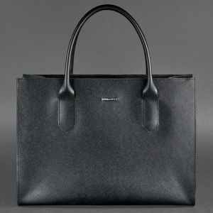 77b78f8b9285 Черная кожаная женская сумка шоппер Everiot Bnote BLACKWOOD BN-BAG-27-blackwood  в ...