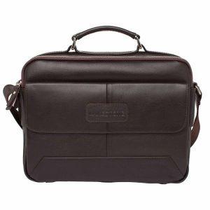 fb9115706d6b Горизонтальная сумка мессенджер Lakestone Button Brown мужская кожаная  коричневая ...